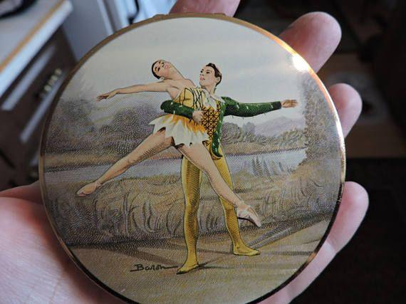 Stratton Ballerina Ladies Vanity Powder w/ Mirror Compact &