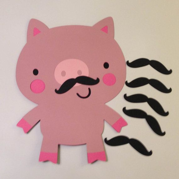 Pin the Mustache on the Pig Game on Etsy, $12.00