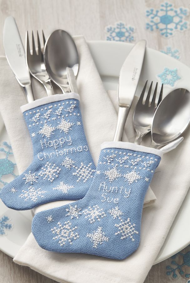 Frosted fancies: How cute are these ice blue cutlery stockings on page 50 of the December 243 issue of CSC? www.crossstitchcollection.com/find-us