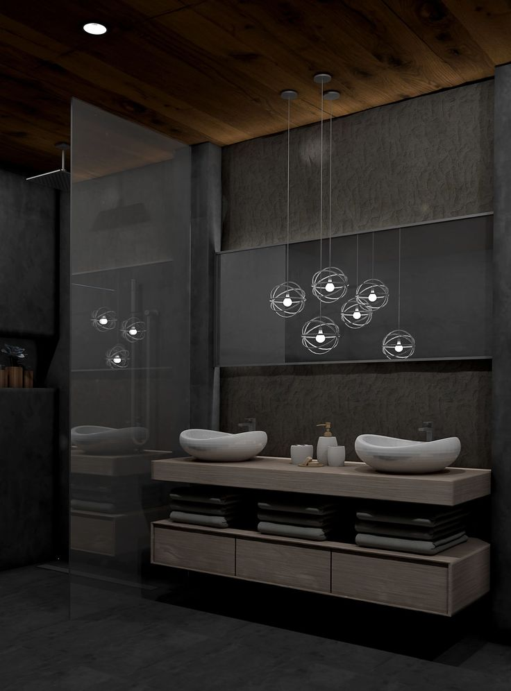 Another rendering was finished just few seconds ago. It is darker than my usual style, but I like it :) What to you think about it? #bathroom #modern #dark #vanity #concretewall #architecture #blueskyinteriordesign #interiordesign #rendering