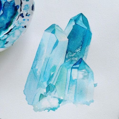I love how this quartz watercolor by moanart is both for Paintings of crystals