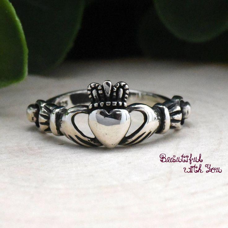 Celtic Claddagh Ring Silver, Silver Claddagh Ring, Simple Claddagh Ring, Irish Celtic Ring, Heart Claddagh Ring, Womens Claddagh Ring Silver by BeautifulWithYou on Etsy https://www.etsy.com/listing/236071985/celtic-claddagh-ring-silver-silver