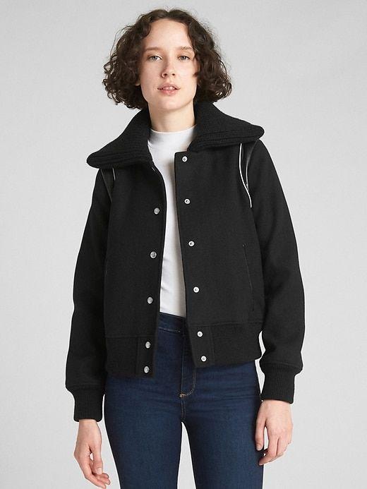 Gap Womens Varsity Wool Bomber Jacket True Black In 2018 Products