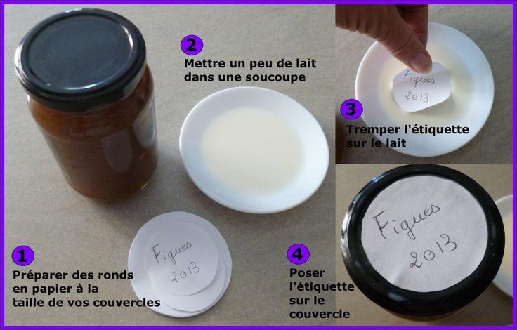 coller les étiquettes sur les pots de confiture