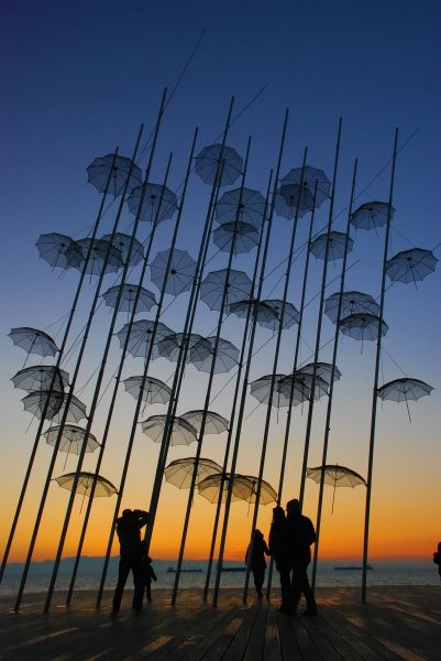 The famous umbrellas at the Beach Promenade, Thessaloniki
