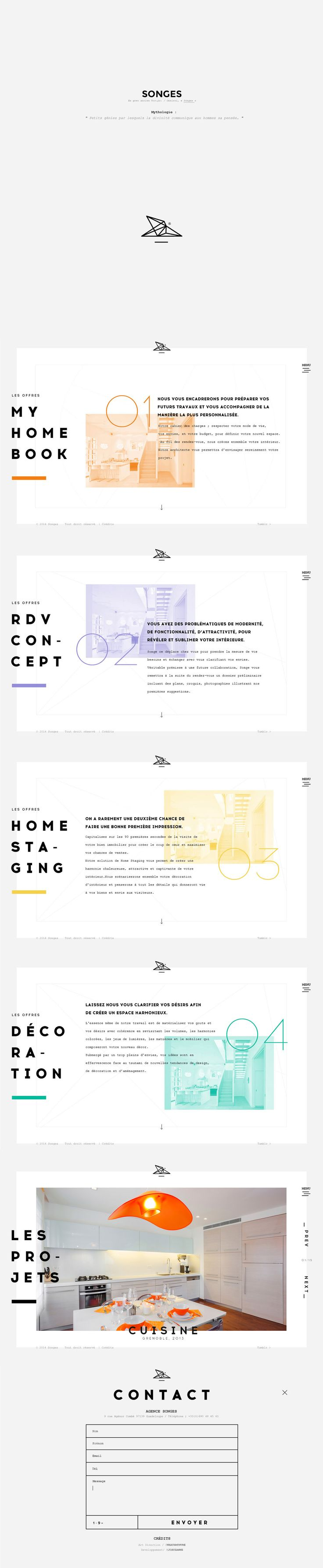 One pager for French Interior Designers, Songes Studio. This is such a fresh approach to showcasing work with a zoom-out effect between each section and it fills a big screen well. Lovely touch with the subtle preloader with their logo.
