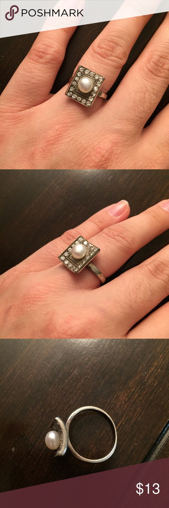 """Pearl Ring Not sure what kind of silver. After making a purchase, please comment """"yes"""" on anything in my closet that says """"not for sale"""" with a price of $0 and I will ship that with your purchase for free! BOGO whole closet is also available. Jewelry Rings"""