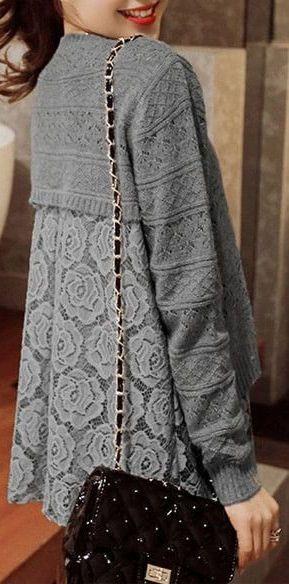 Grey Lace Layered Sweater ❤︎