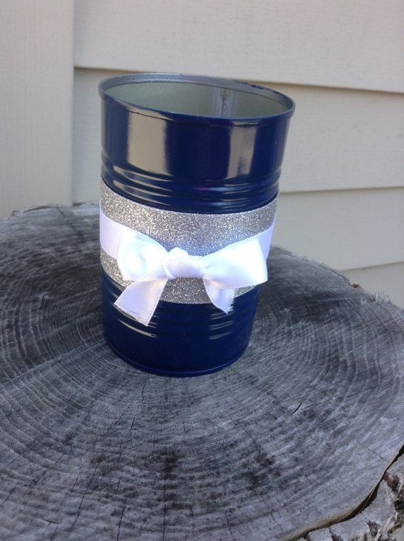 Simple And Elegant Tin Can Centerpiece Makes An Excellent Vase Or Tea Light  Holder. This. Tin Can CenterpiecesTable ...