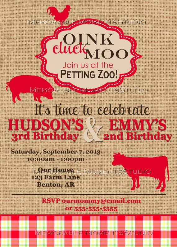 PRINTABLE INVITATIONS Vintage Petting Zoo or Farm Party ...