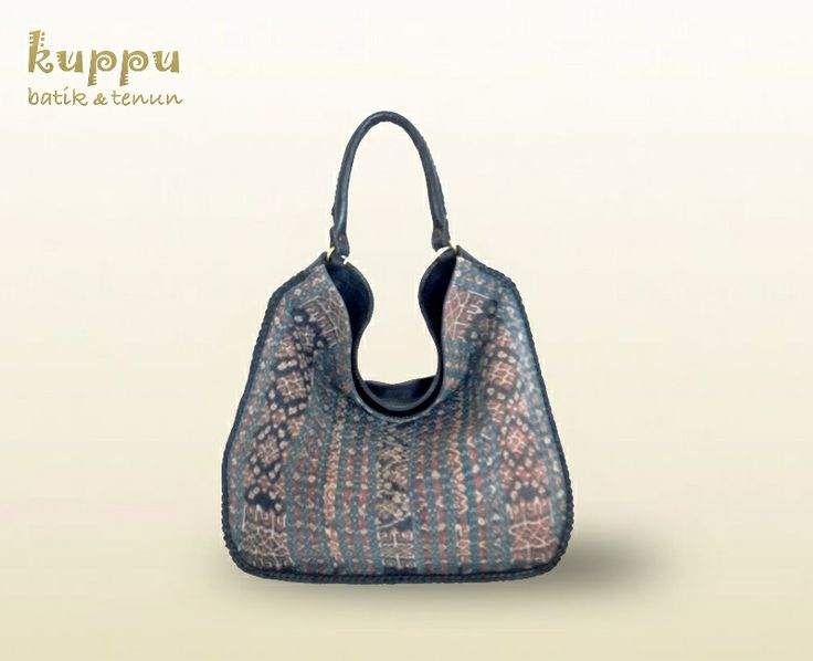 Kuppu Batik Tenun Rose Ende Hobo Bag - Blue  A natural-dye vintage (lawas) Ende weaving combined with Navy Blue with white Stripes Italian genuine leather, add with nicely hand woven leather on the straps and around the body.