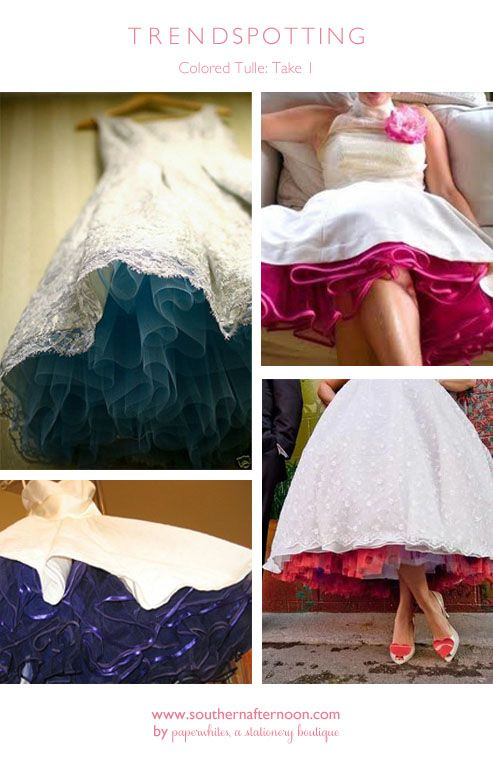 Color tulle under a white wedding dress!! This is what I want to do for my wedding:)  to match bridesmaids dresses.