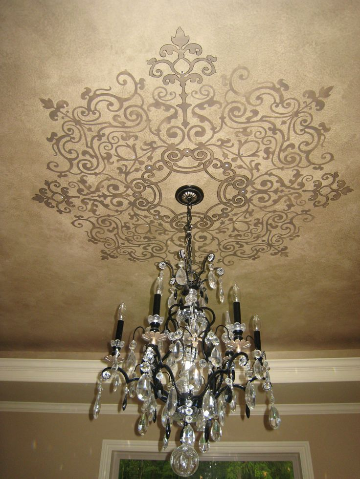 Love the idea of a painted ceiling treatment around a light fixture