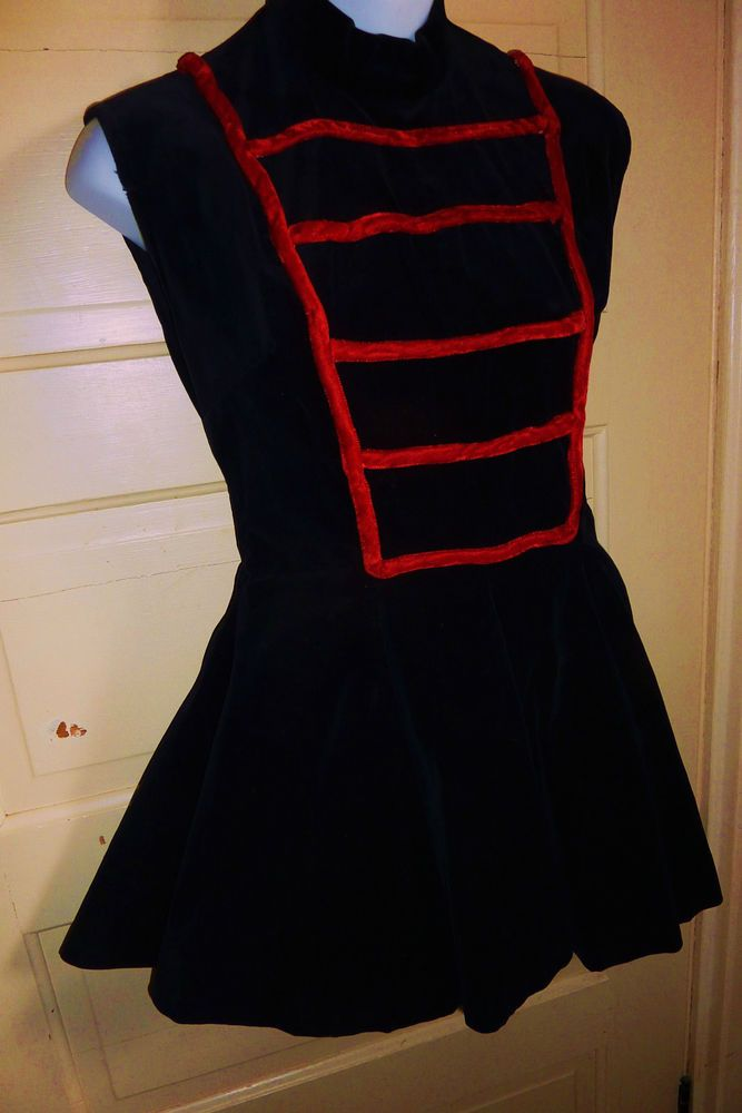 Vintage Cheerleading Uniform Majorette Dancer Black Red Velveteen Sz S-M 1960s  I DO really like this, even though I like to steer away from the marching band look. It's very elegant. But only black and gold
