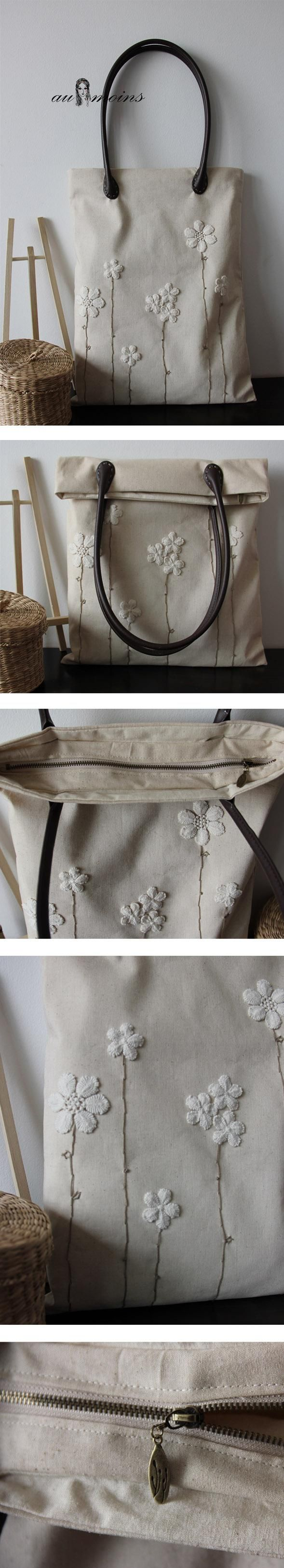 lace flowers on linen tote