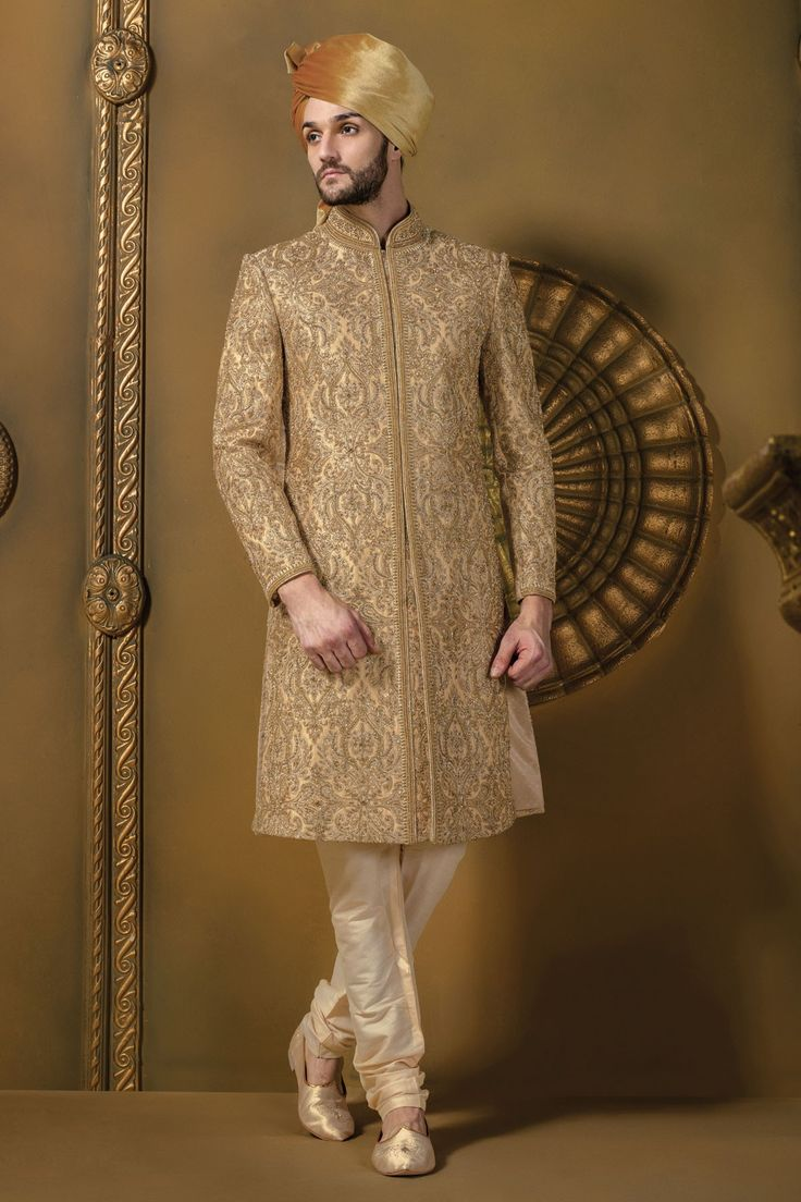 #Beige & #gold silk #jodhpuri stunning #sherwani with full sleeves & #cream churidar -IW344