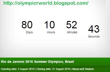 Rio 2016 Olympic CountDown Start      Rio 2016 Olympic CountDown Start    Rio Olympic Date and Cou...