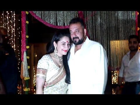 Sanjay Dutt with wife Manyata at Aamir Khan's house for Diwali Party 2016.