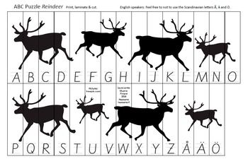 FREE Printable ABC Puzzle Reindeer. Print, laminate & cut. Feel free to not…