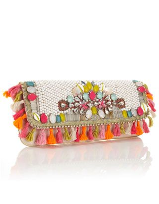 Unique and exotic heavily embellished clutch with bright summery beading, shell and diamante detail and tassel all around trim. Statement wow clutch perfect for summer.