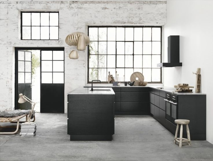 muebles cocina negros pared industrial