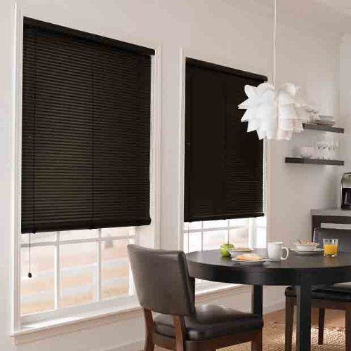 BLACK Vinyl 1in Mini Blinds by N/A. $8.97. These vinyl mini blinds are perfect for your home, office and used extensively in apartment buildings because of their long lasting characteristics Classic 1 inch slats. Auto-locking cord mechanism adjusts blind height. Tilt wand. Wipe clean with a damp cloth. Installation hardware and instructions included. Length on these vinyl blinds can shortened to fit your window for that custom look We can shorten your blind's length - FREE - sele...
