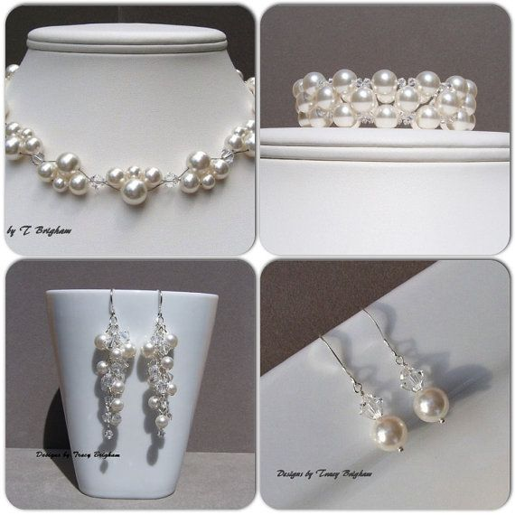 Wedding Necklace Pearl Bridal Necklace by DesignsbyTBrigham