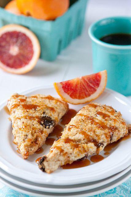 Cherry-Orange Cream Scones with Blood Orange Caramel Sauce   Recipe