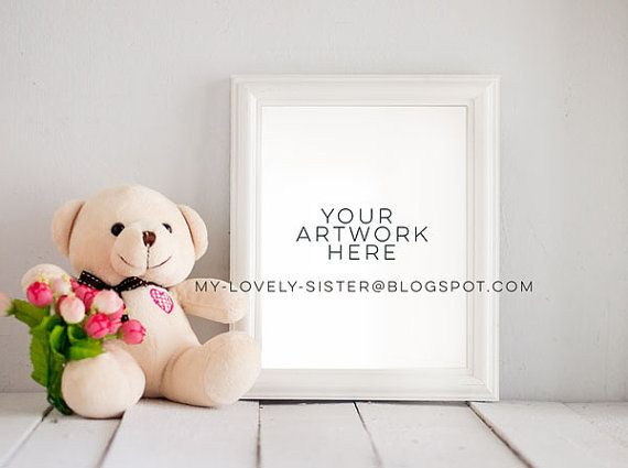Baby Frame Mock Up, White Frame, Nursery, Kids, Teddy bear, Instant Download,Frame Stock Photo, framed nursery mockup, Nursery print mock up
