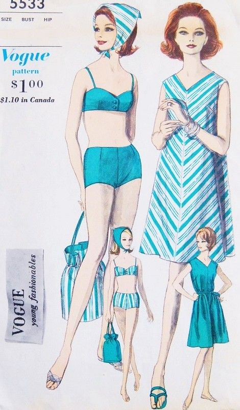 1960s Beach Resort Wear Pattern Vogue Young Fashionables 5533 Reversible 2 Pc Bathing Suit, Beach Cover Up Dress, Beach Bag and Scarf Bust 36 Vintage Sewing Pattern