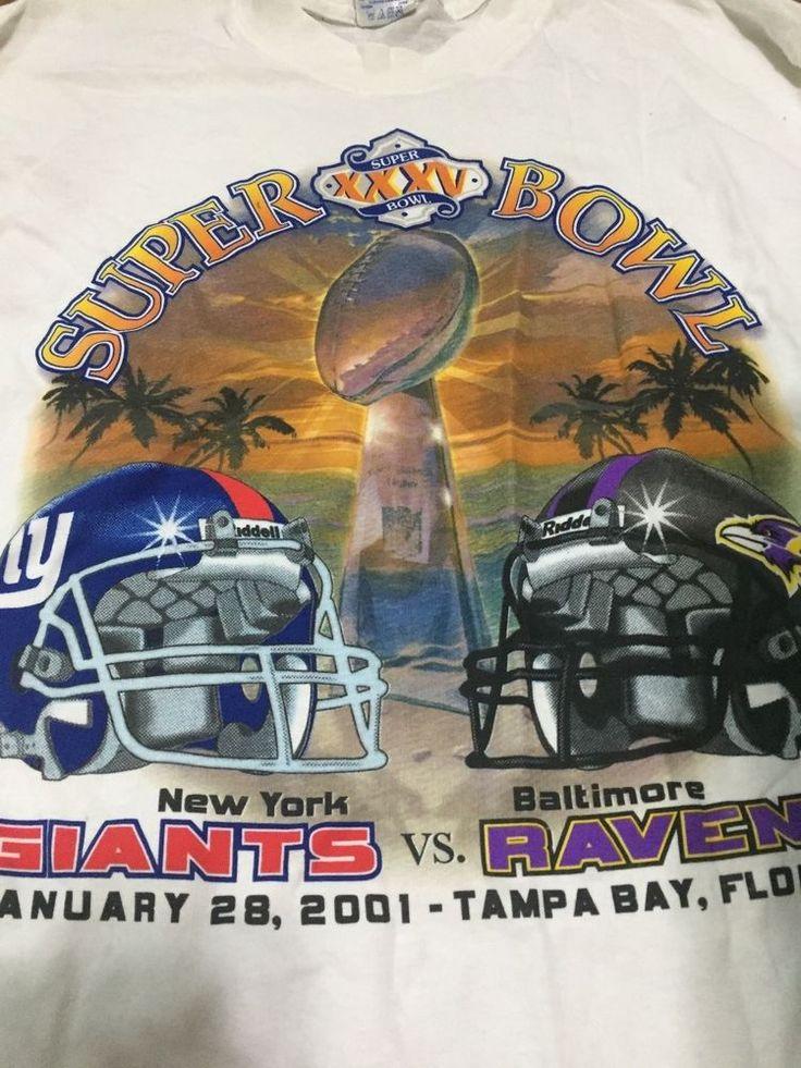 NFL Super Bowl XXXV Giants vs Ravens 2001 Men's Large T-Shirt