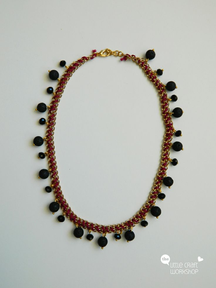 Handmade necklace - chain, thread, beads