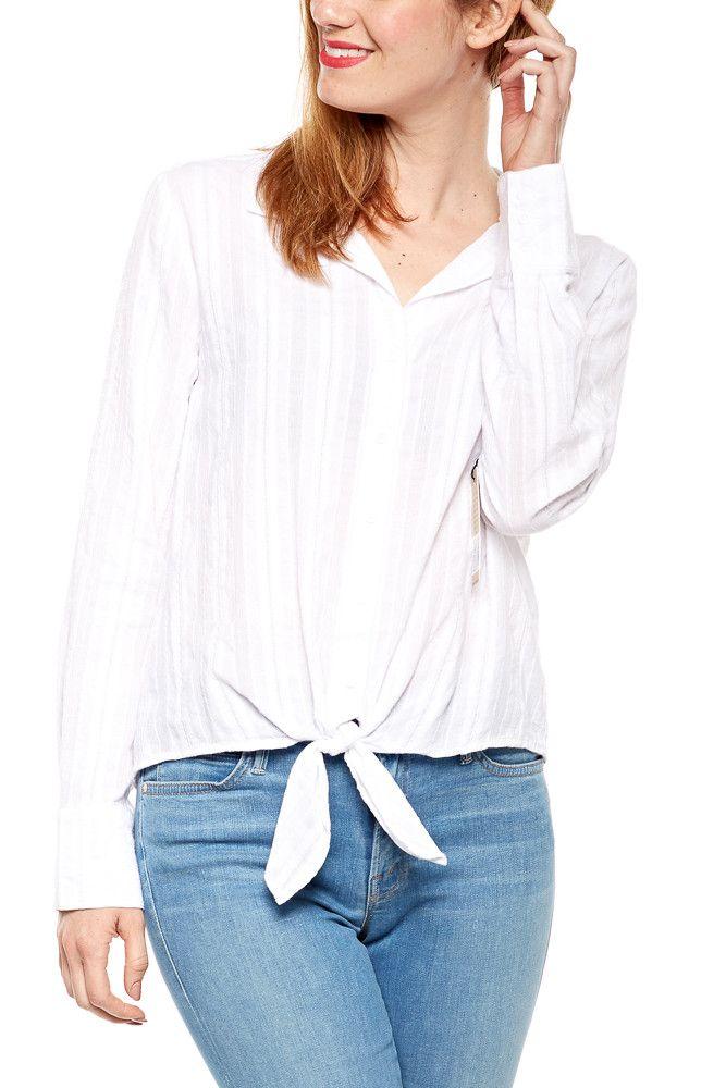 Bella Dahl Tie Front Button Down in White