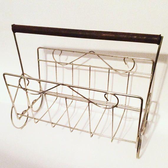 MidCentury Magazine Rack brass and wood magazine holder