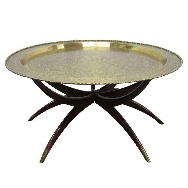 Round Brass Tray Table W/ Spider Legs