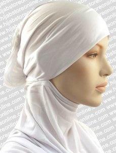 Turban Hijab - Satin Corsage - White