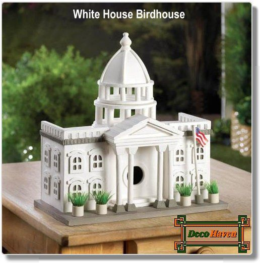 White House Birdhouse - A stately manor that your feathered friends will gladly vote to make their home! This fantastically detailed bird house looks like a miniature White House, complete with a waving American flag and potted plants outside. Hang this presidential bird palace in your yard and watch as birds flock to it.  Only $32.81 plus FREE shipping!