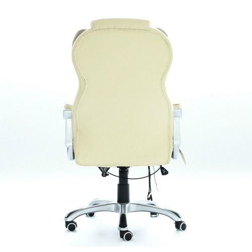 Faux Leather Office Chair Cream Computer Swivel Chair Reclining Massage Seat New #UnbrandedGeneric #ReclinerChair
