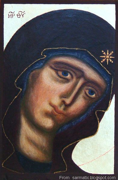 Mother of God - egg tempera on wood.
