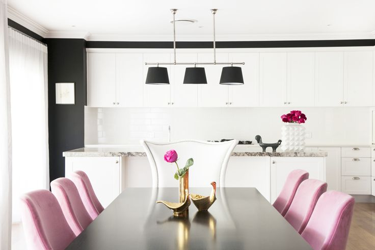 black and white and pink velvet by Woods and Warner via @MyDomaineAU