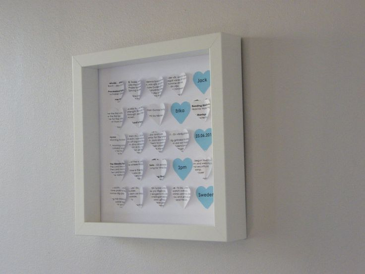 Handmade for you. This frame design uses paper created from a wedding order of service.   Can be personalised with the message hearts in the colour scheme from the wedding. Ideal gift for a first 'paper' wedding anniversary.