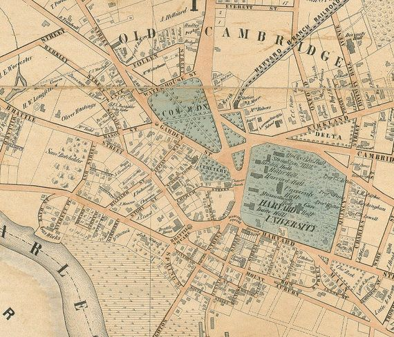 Cambridge Map 1854 Cambridge Old Map Vintage Map Print City