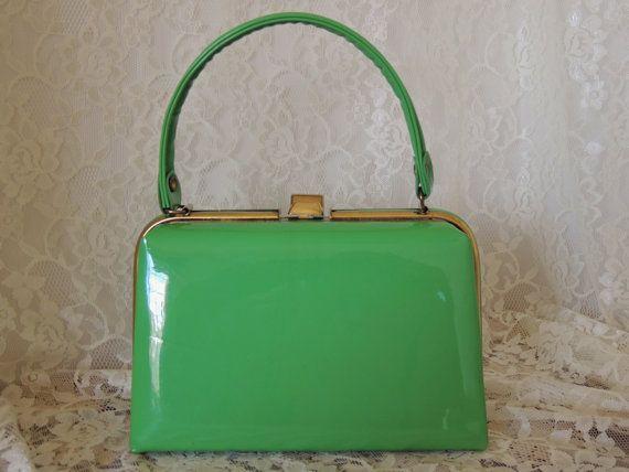 Vintage 1960's Green Patent Purse Handbag by PursonalBaggage2, $54.00