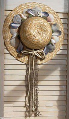 Beachy straw hat wreath with seashells