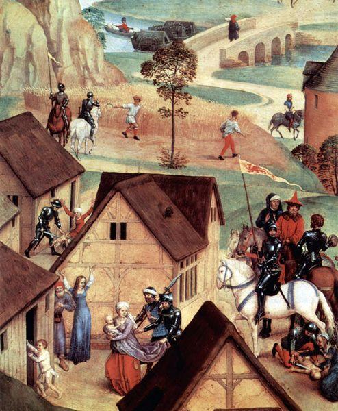 Hans Memling (v. 1440-1494) : le massacre des Innocents. Détail de « L'avent et le Triomphe du Christ ». 1480. Huile sur bois, Munich, Alte Pinakothek.