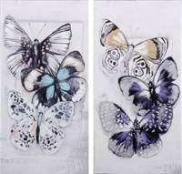Lerretsbilde med blå sommerfugler. Finnes i 2 forskjellige motiver. Skriv i kommentarfeltet hvilken du ønsker. Lavikgaver.no