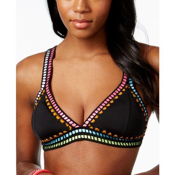Bar Iii Weave It Triangle Bikini Top, ($48) ❤ liked on Polyvore featuring swimwear, bikinis, bikini tops, tankini tops, triangle swimwear, colorful swimwear, multi color bikini and triangle swim top