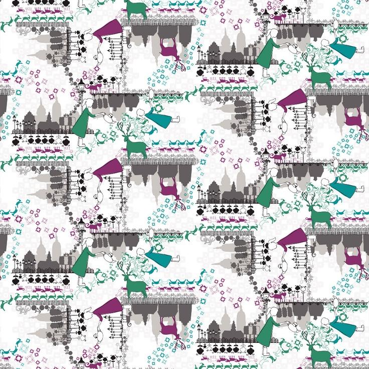 www.julianaveiga.com  #illustration #scandinavian #textiles #textiledesign #drawing #house #flower #deer #copenhagen #porcelain #julianaveiga #textileprint