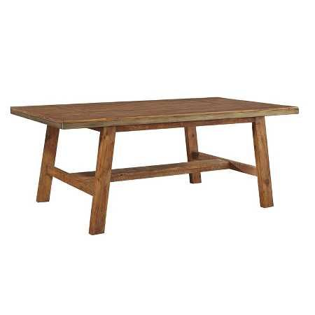 Style takes shape with this rectangular dining table. Its warm brown finish, natural distressing marks and angular legs demand attention and create an entertaining space everyone will want to gather around. Signature Design by Ashley is a registered trademark of Ashley Furniture Industries, Inc.
