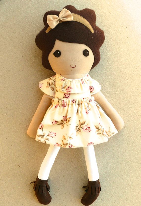 Reserved for elavintage Fabric Doll Rag Doll by rovingovine
